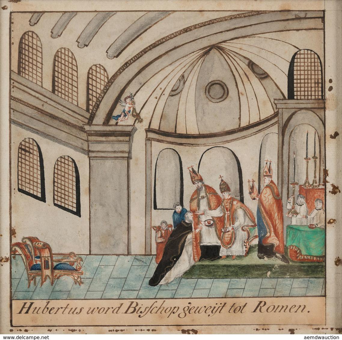 IMAGE PIEUSE: Hubertus Word Bisschop Geweijt Tot Romen. - Devotion Images