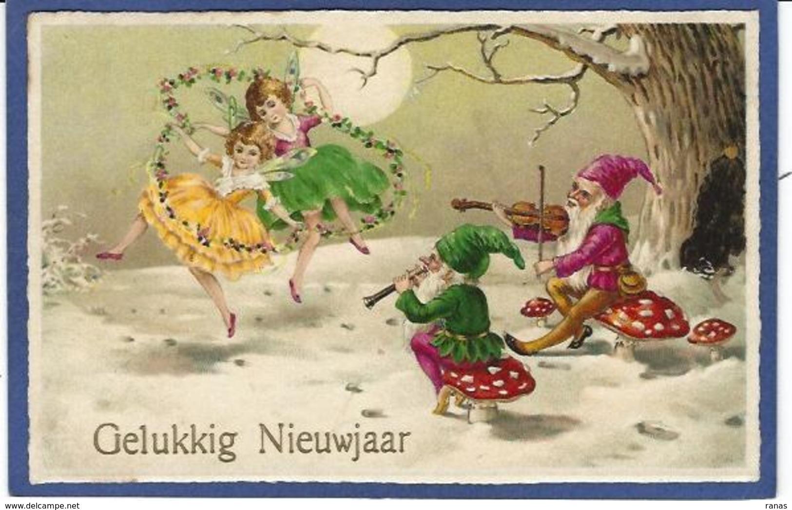 CPA Champignon Mushroom Fantaisie Gnome Lutin Nain Circulé Elfe Violon - Fairy Tales, Popular Stories & Legends