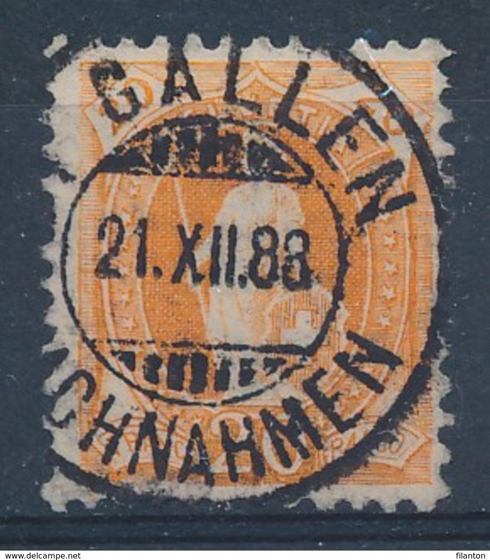 """HELVETIA - Mi Nr 58A - Cachet """"ST-GALLEN - NACHNAHMEN"""" - (ref. 108) - Gebraucht"""