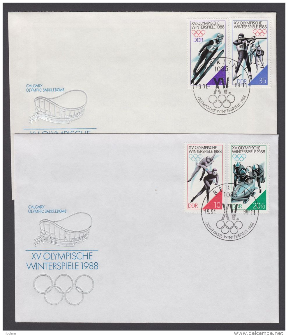 "3140/3 ""Olympiade Calgary"", 2 Pass. Briefe Mit ESst, Dabei Auch Plattenfehler 3141 I - DDR"
