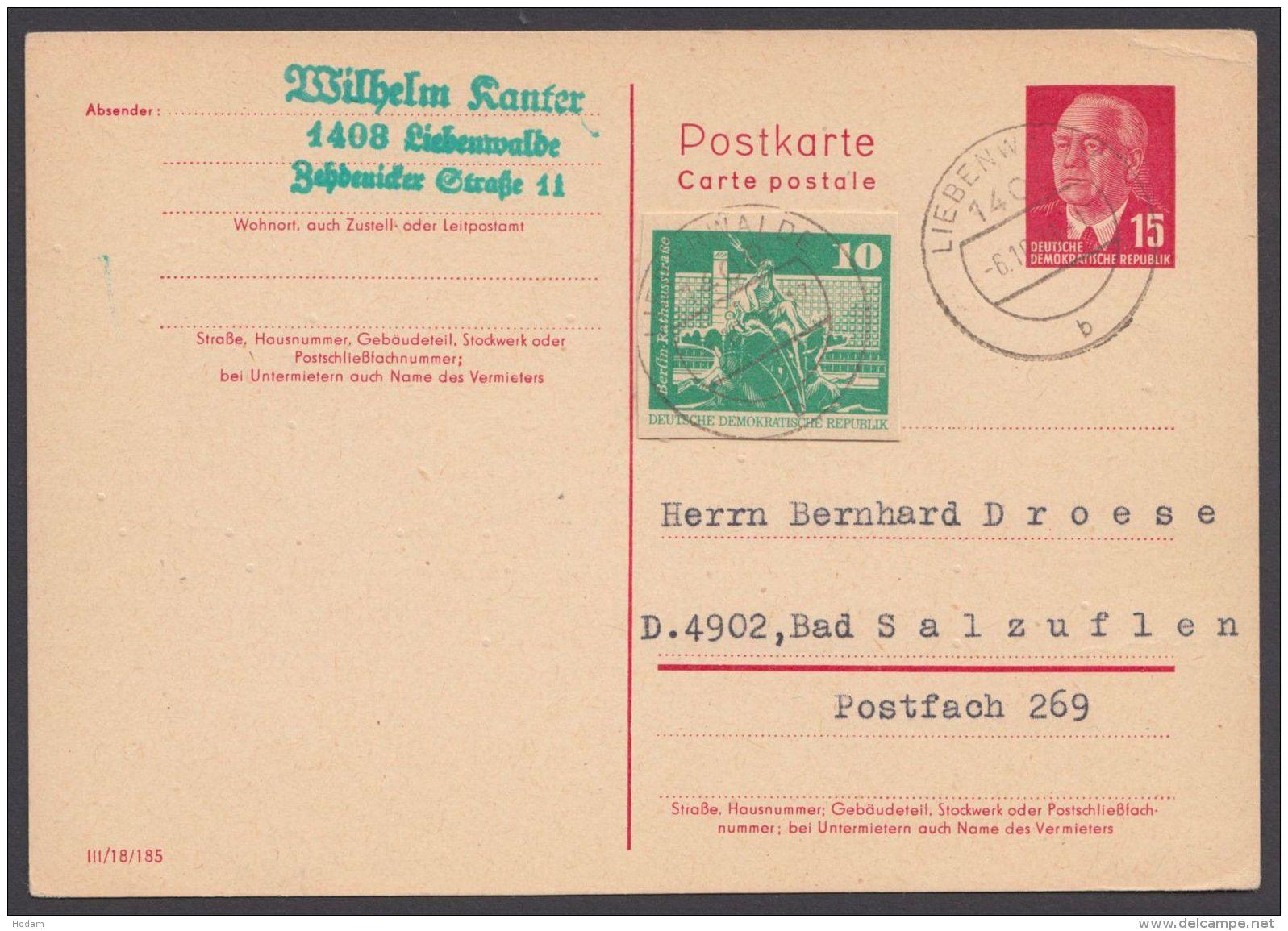 P 64 A II, Bedarf Mit Zusatzfrankatur Ganzsachenausschnitt - Cartoline - Usati