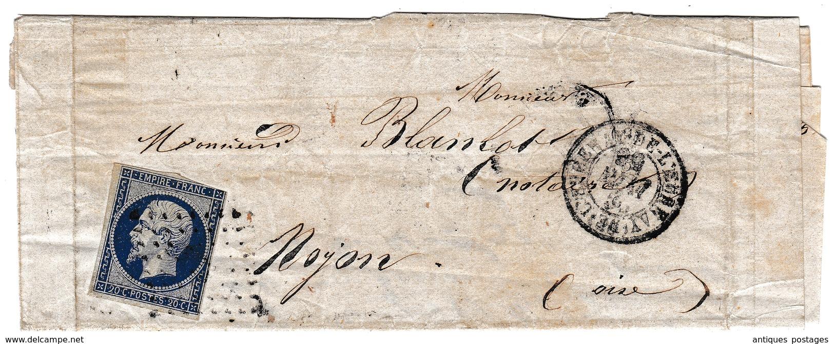 Lettre 1856 Bernay Eure Pour Noyon Oise - 1853-1860 Napoléon III