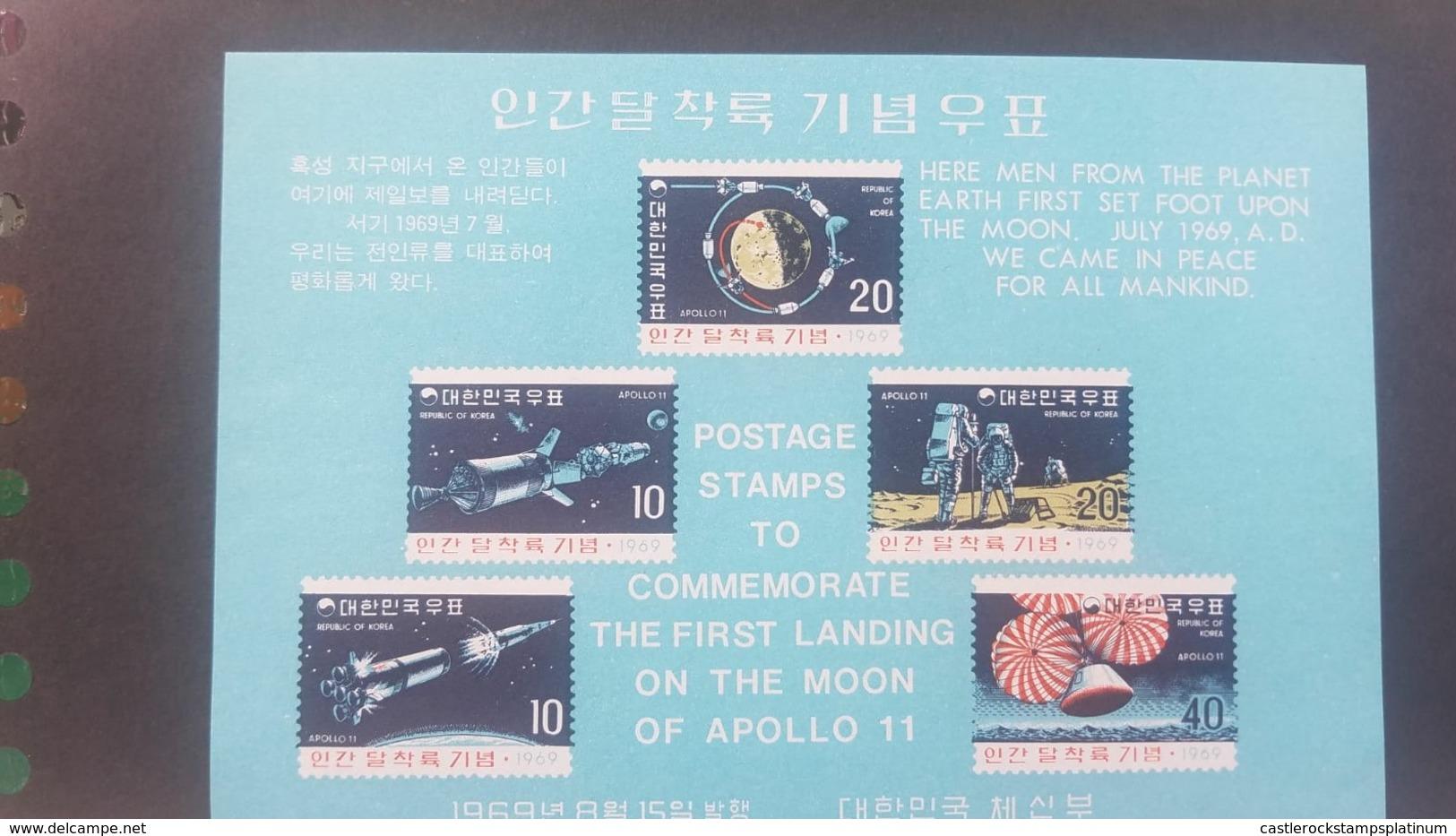 O) 1969 KOREA. SPACE - APOLLO 11 -ORBITS OF COMMAND AND LANDING MODULES AROUND MOON-SPACECFRAFT SPLASHDOWN SCT A341, XF - Korea (...-1945)