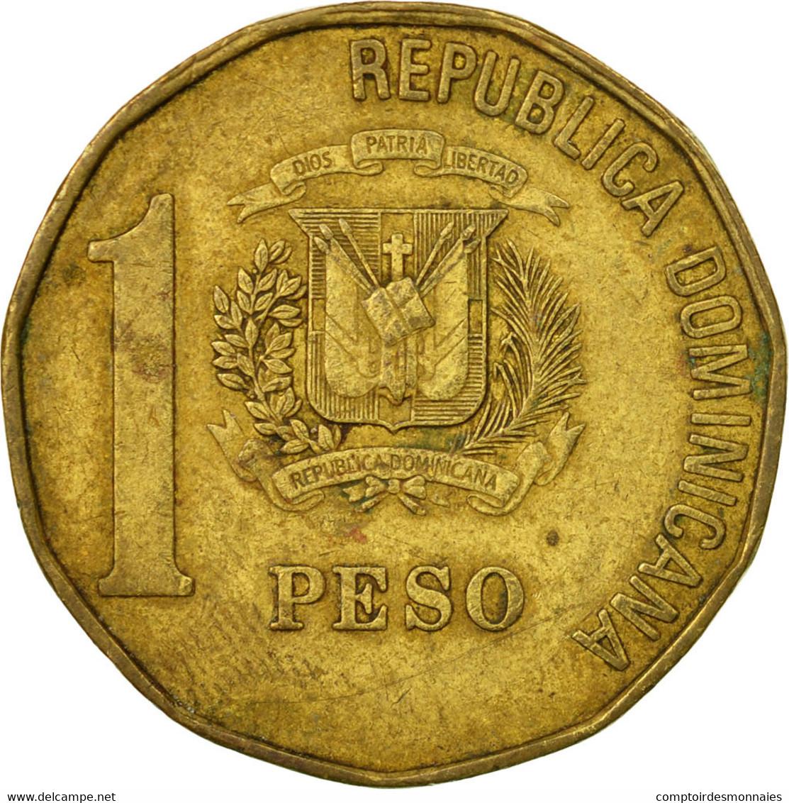 Monnaie, Dominican Republic, Peso, 1992, TB+, Laiton, KM:80.1 - Dominicaine