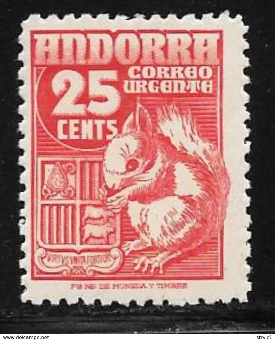 Andorra, Sp.,scott #E5 Mint Hinged Special Delivery Arms, Squirrel, 1949 - Spanish Andorra