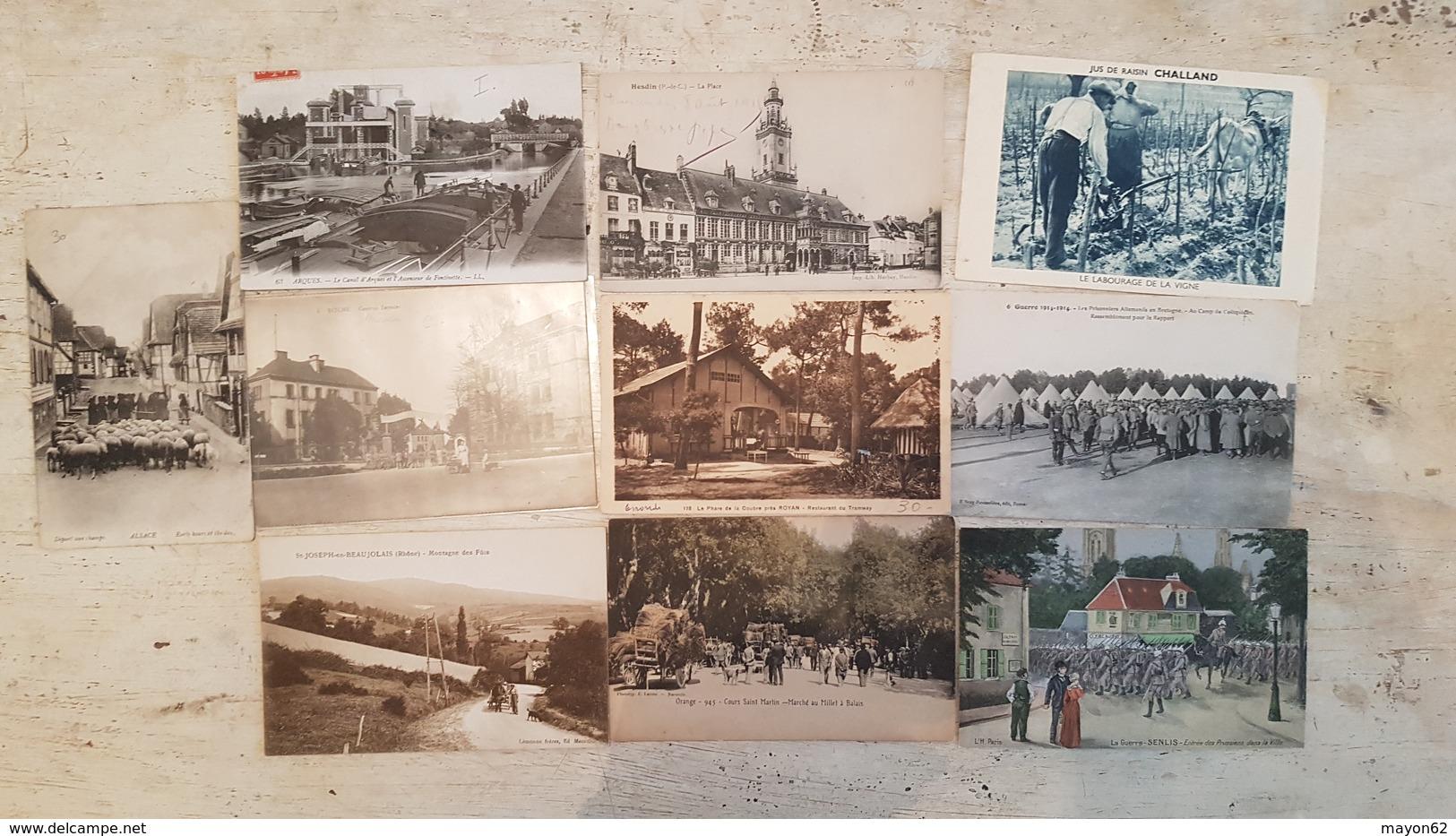TOP LOT 210 CARTES POSTALES ANCIENNES FRANCE-TOUTES SCANNEES-DEPART 1E- VILLAGES USINES MILITARIA GARES -ANIMATION++++++ - Postcards