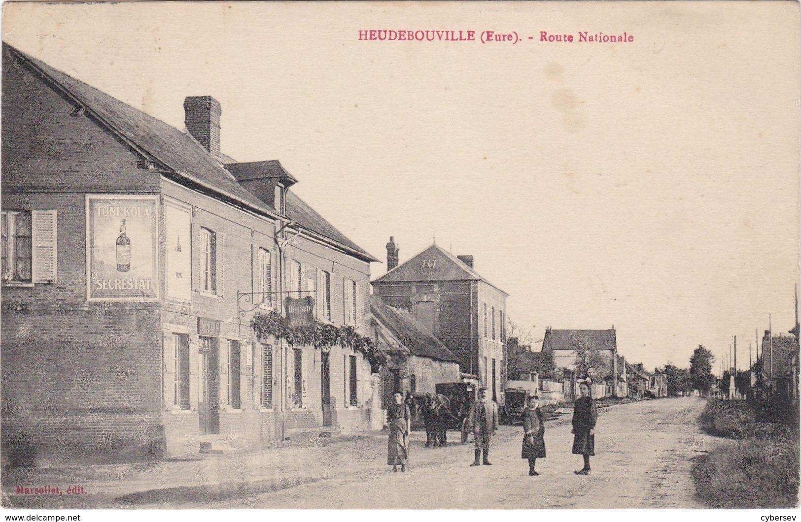 HEUDEBOUVILLE - Route Nationale - Attelage - Animé - Autres Communes
