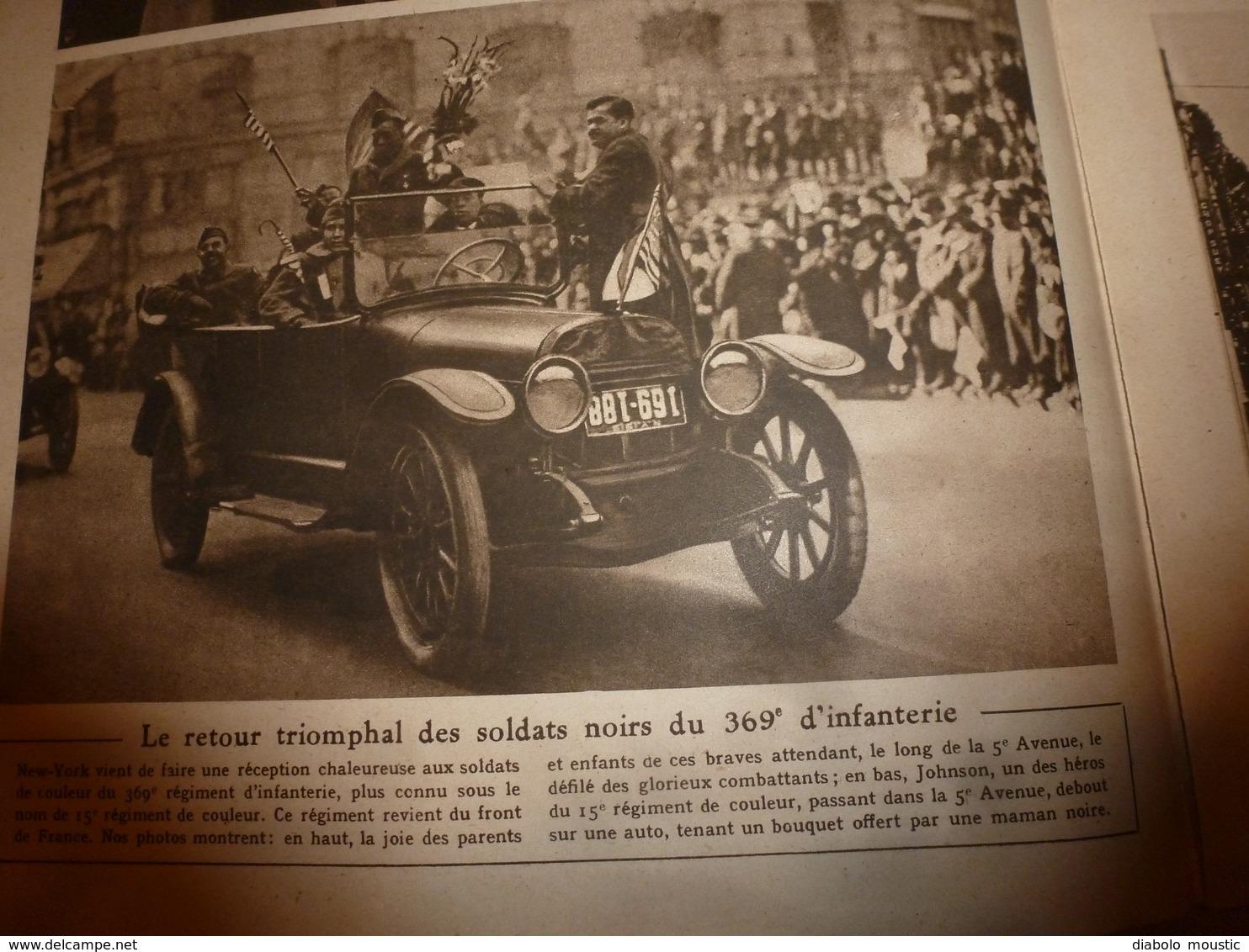 1919 LE MIROIR:Emeute à Berlin;Héroïques Blak Soldiers 15e Rgt US;Lenox-Avenue New-York;Ehrenbreitstein;Ostende;etc - Riviste & Giornali