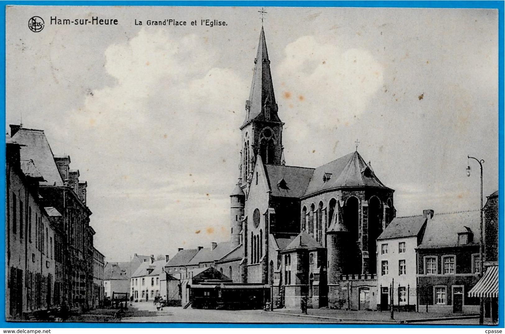 CPA Belgique Belgie HAM-sur-HEURE Hainaut - La Grand-Place Et L' Eglise (roulottes) ° Edition Alfred Frère - Ham-sur-Heure-Nalinnes