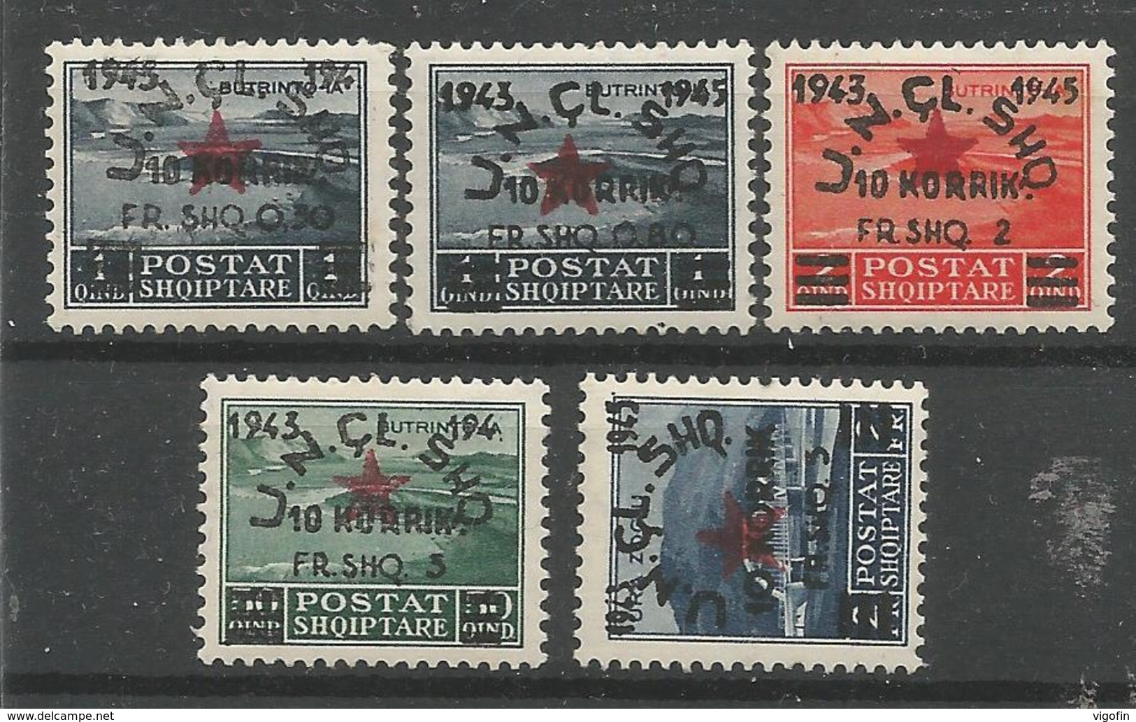 AL 1945 368,370,372-4 DEFINITIVE, 1 X 5v, MNH - Albanien
