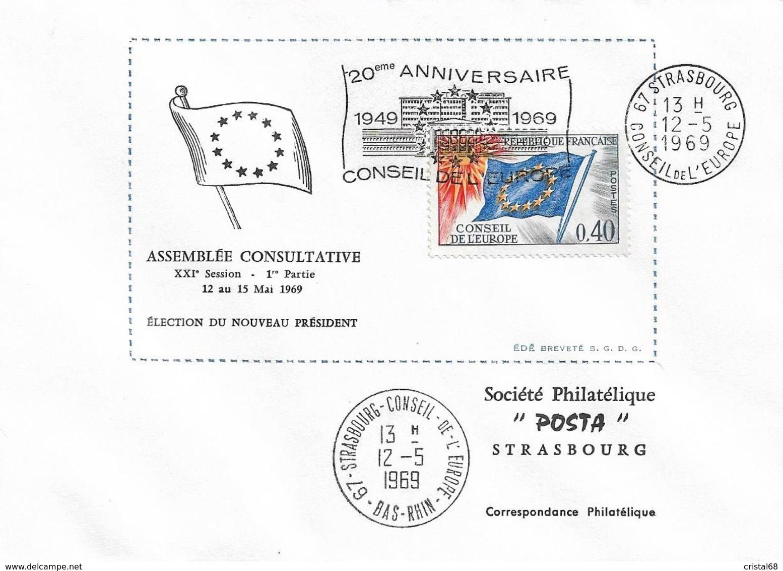 Envel. Assemblée Consultative XXIème Session Du 12.05 Au 15.05.1969 - Oblit. 12.05.69, Conseil De L'Europe. Voir Descrip - Autres