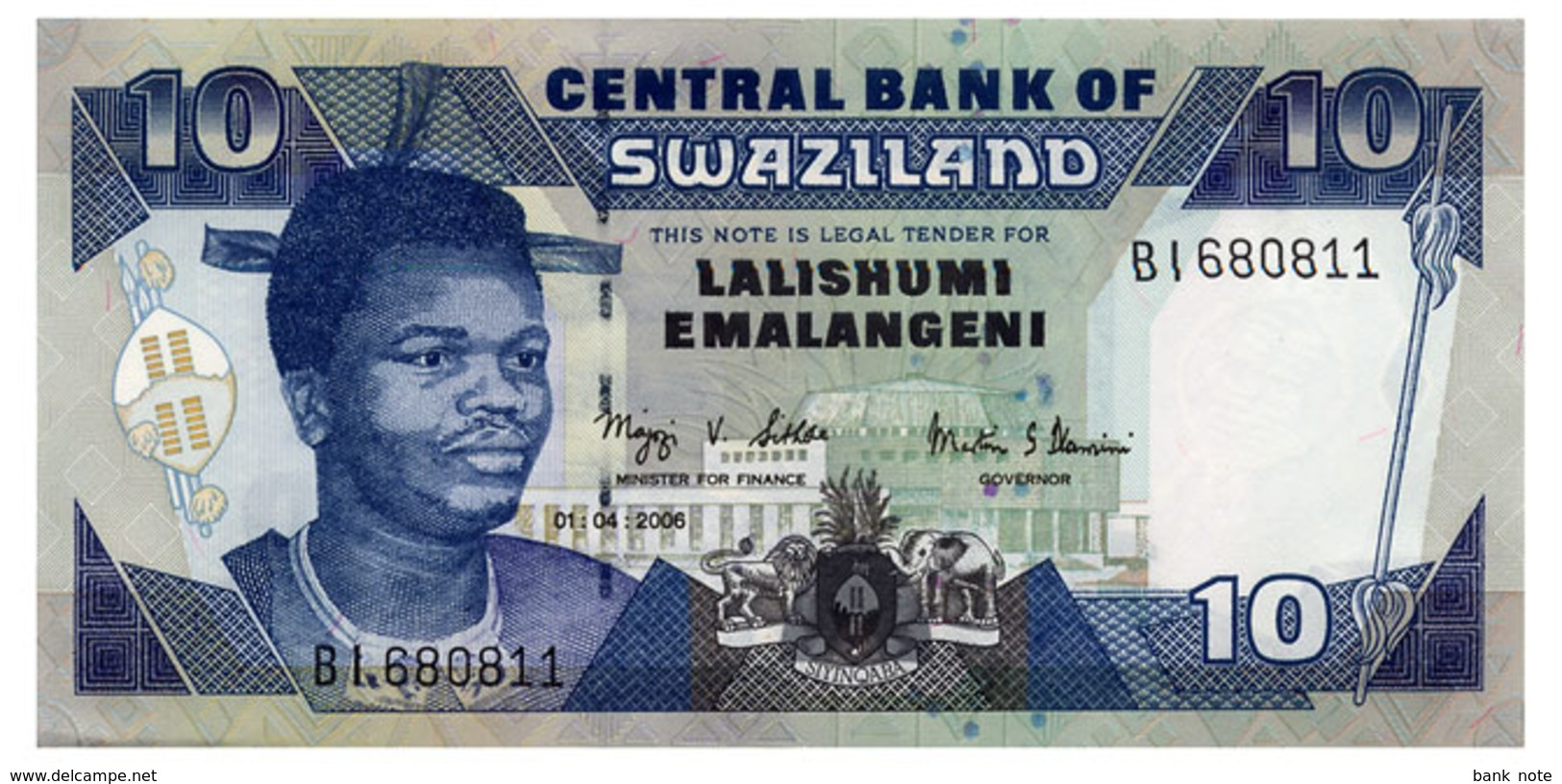 SWAZILAND 10 EMALANGENI 2006 Pick 29c Unc - Swaziland