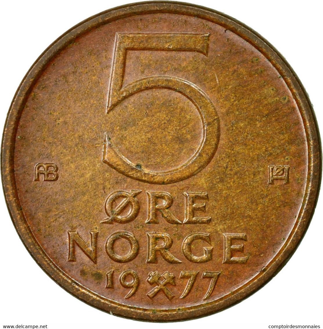 Monnaie, Norvège, Olav V, 5 Öre, 1977, TTB, Bronze, KM:415 - Norvège