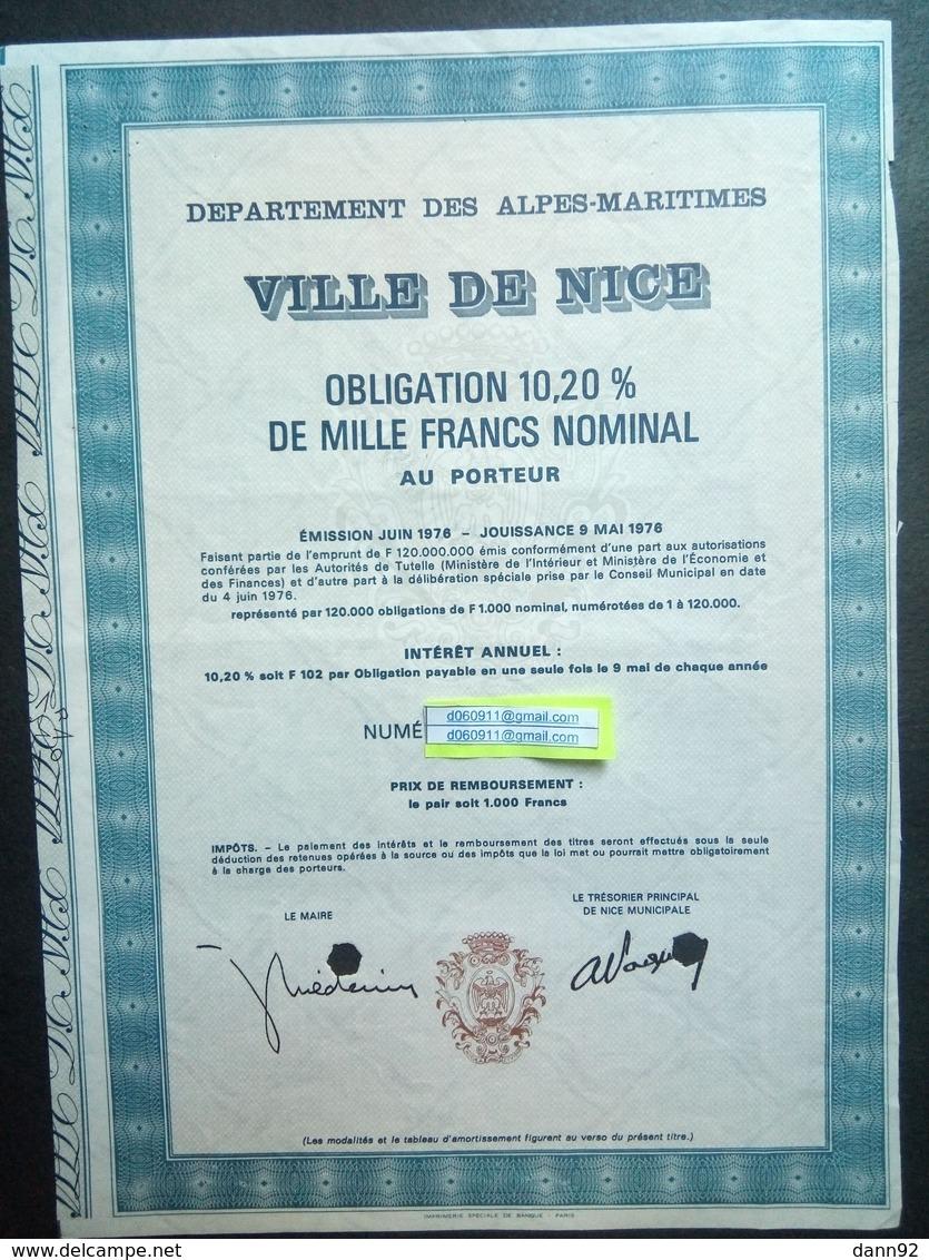 1 Dep Des Alpes-Maritimes Ville De NICE Obligation 10,20 % De 1000 F, 1976 ( Annulé) - Actions & Titres
