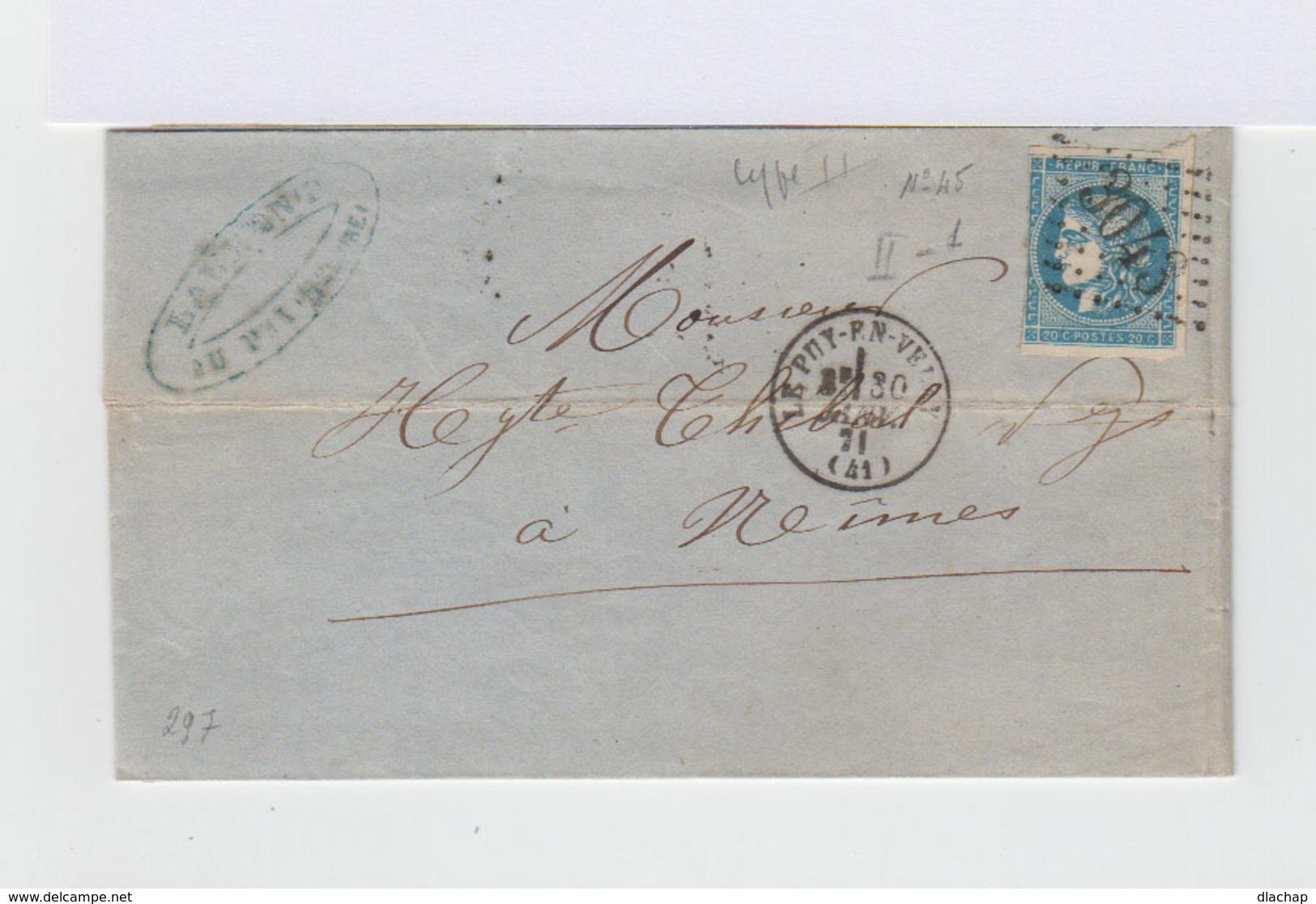 Sur Lettre Type Céres 20 C. Bleu Type II Report I. Oblitération Losange.CAD Le Puy 1871. (722) - Marcophilie (Lettres)
