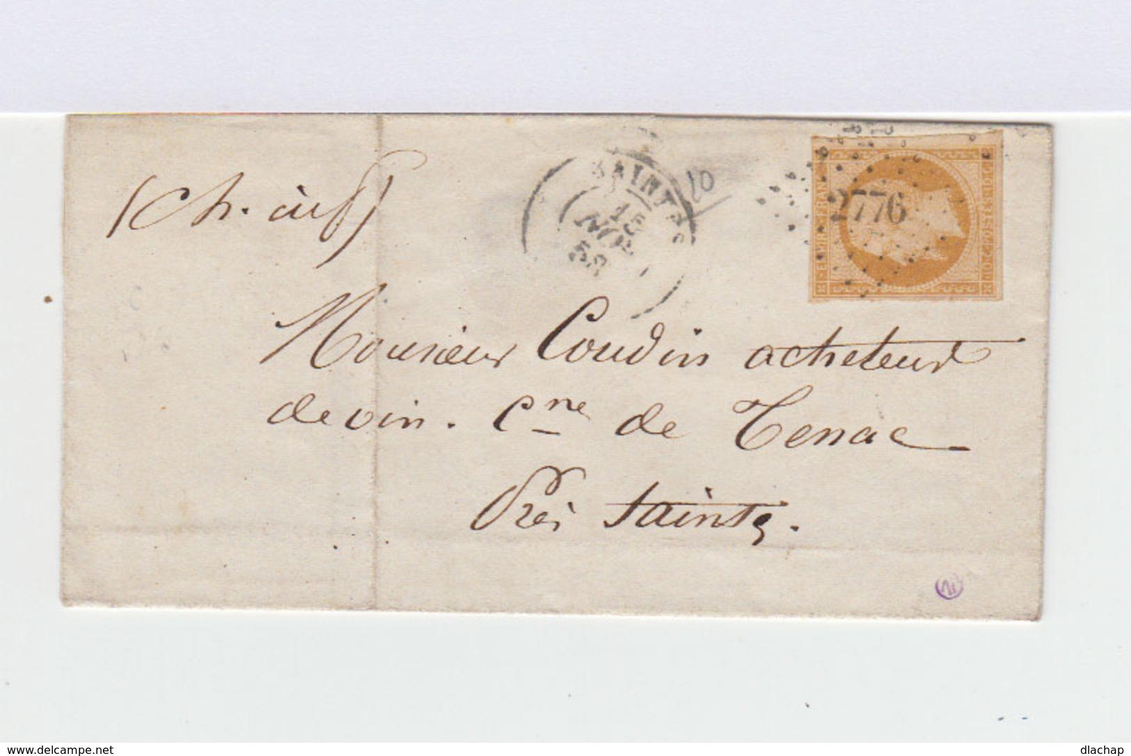 Sur Lettre Second Empire Napoléon  10 C Bistre. Oblitération Losange. CAD Saintes 1958. (725) - Lettres & Documents