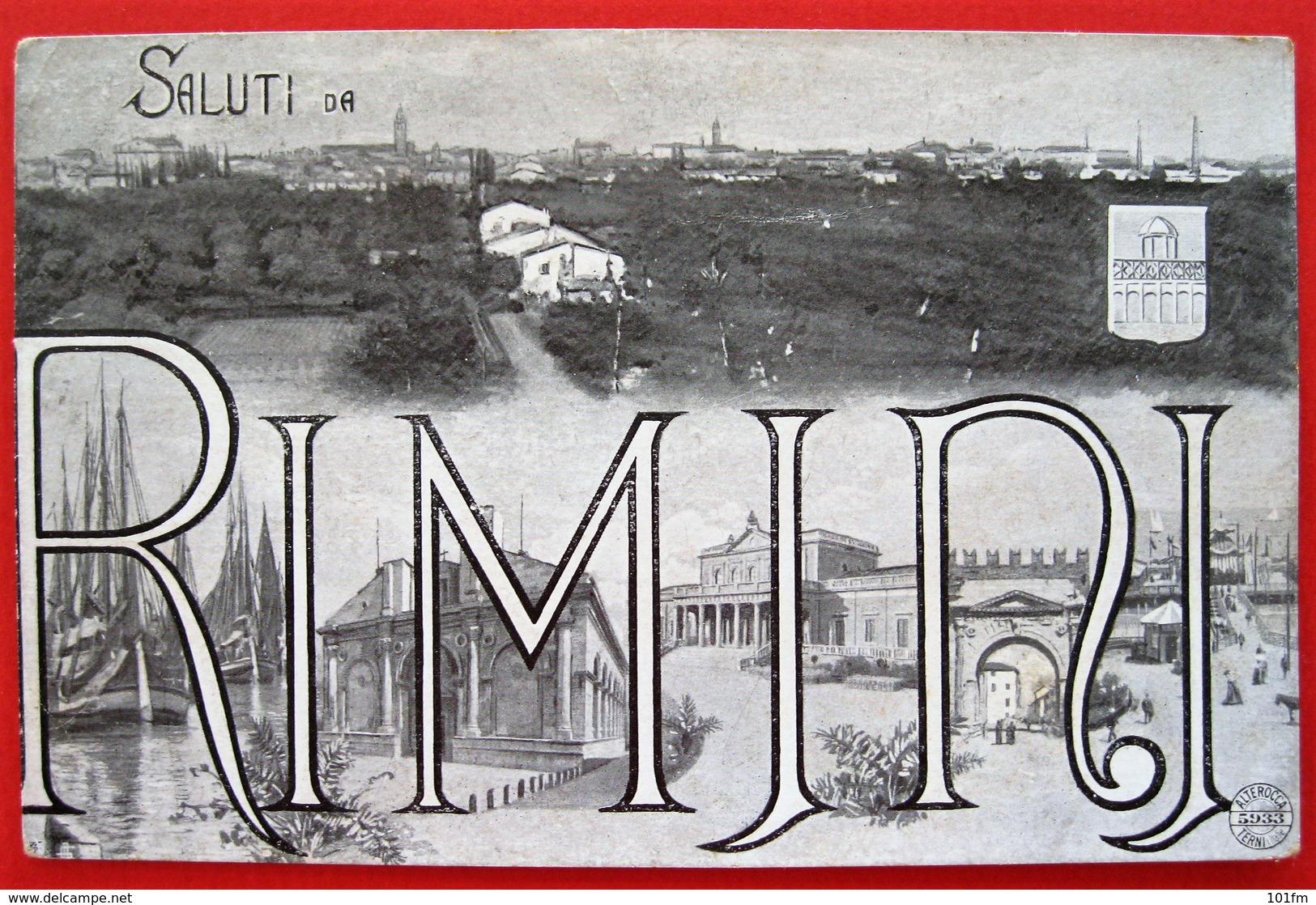 SALUTI DA RIMINI 1909 - Rimini