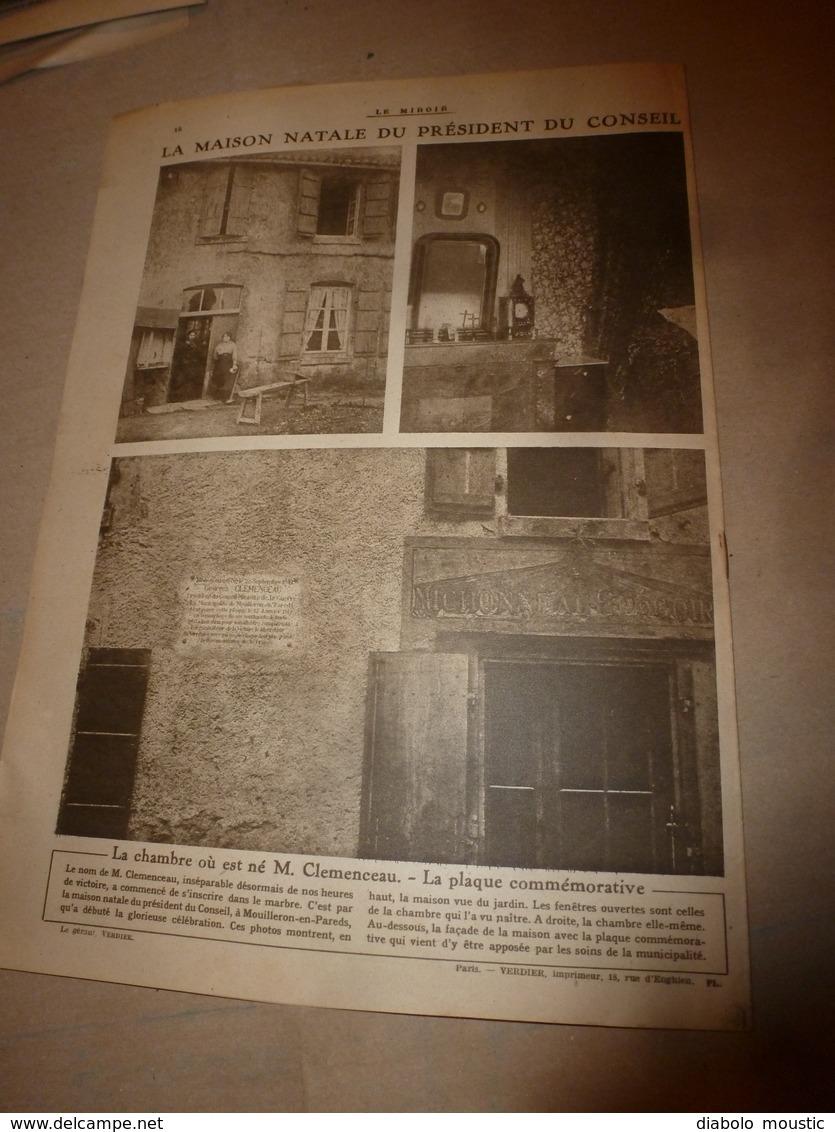 1919 LE MIROIR:Yougo-Slavie ; Berlin; La Poste Belge à Dusseldorf; Les Funérailles Nationales De Théodore Roosevelt;etc - Revues & Journaux