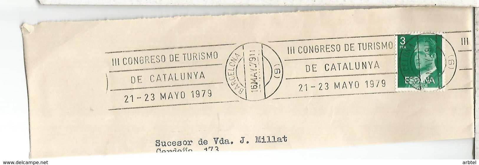 FRAGMENTO CON MATASELLOS RODILLO BARCELONA III CONGRESO TURISMO CATALUÑA - Otros