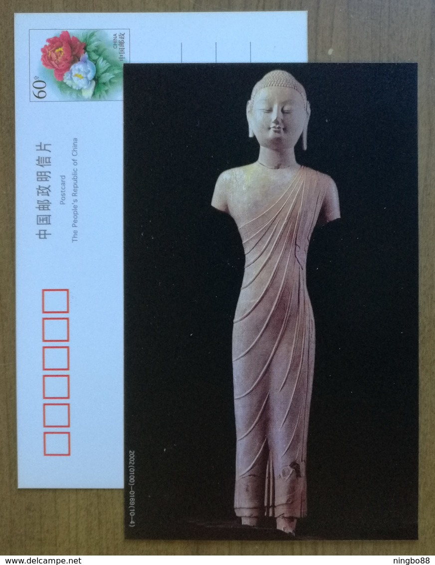 Circular Engravure Standing Stone Buddha Figure,applied Gold & Colored Painting,CN 02 Northern Qi Excellent Art PSC - Buddhism