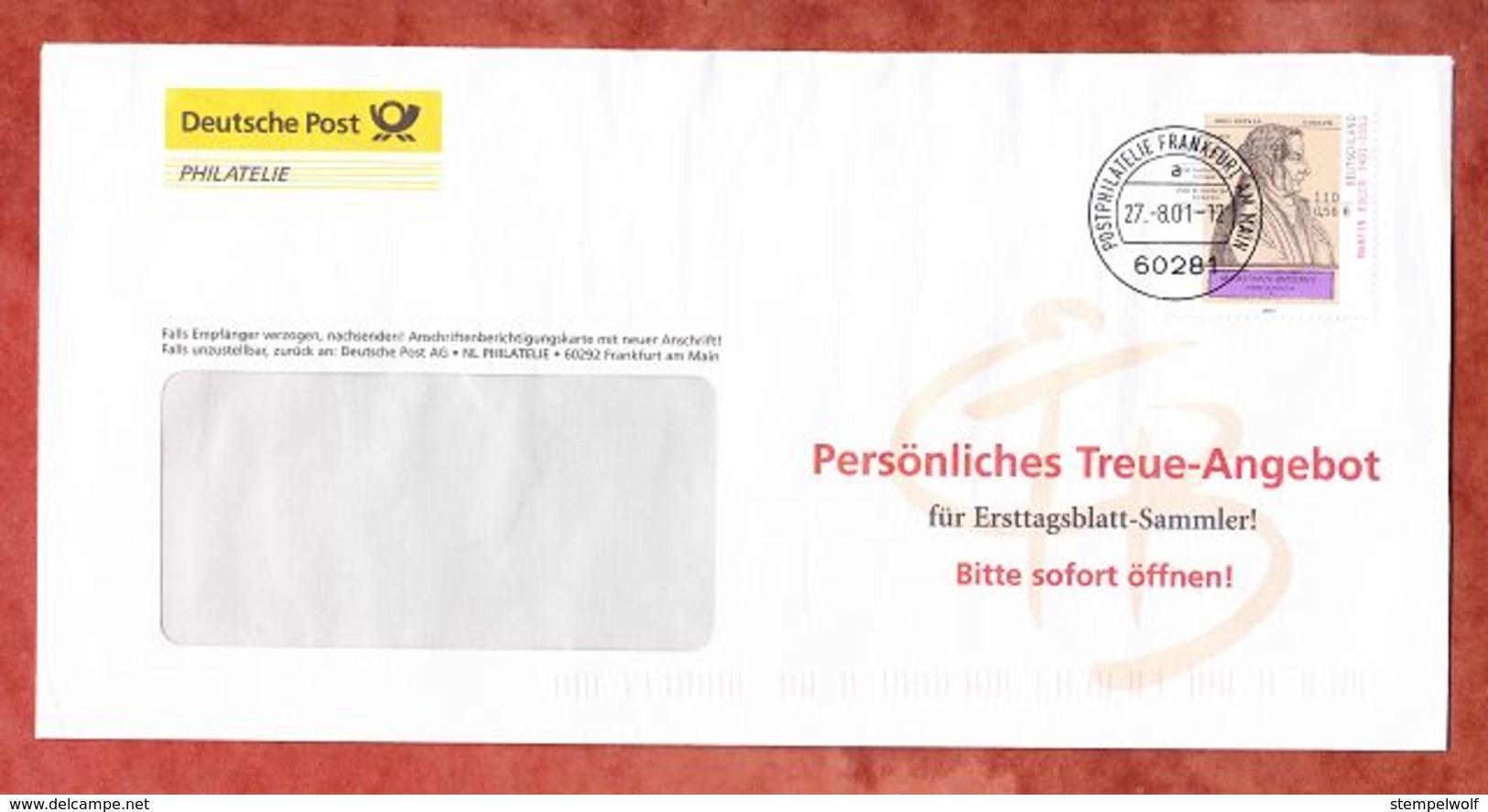 Brief, EF Martin Bucer, Entwertet Postphilatelie Frankfurt 2001 (58230) - Covers & Documents