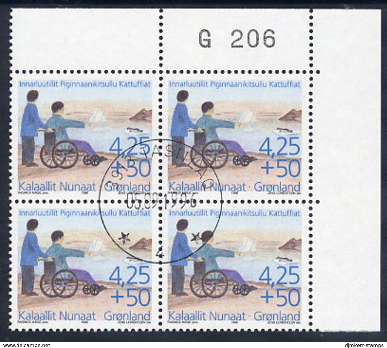 GREENLAND 1996 Society For The Disabler  In Used Corner Block Of 4.  Michel 296 - Greenland