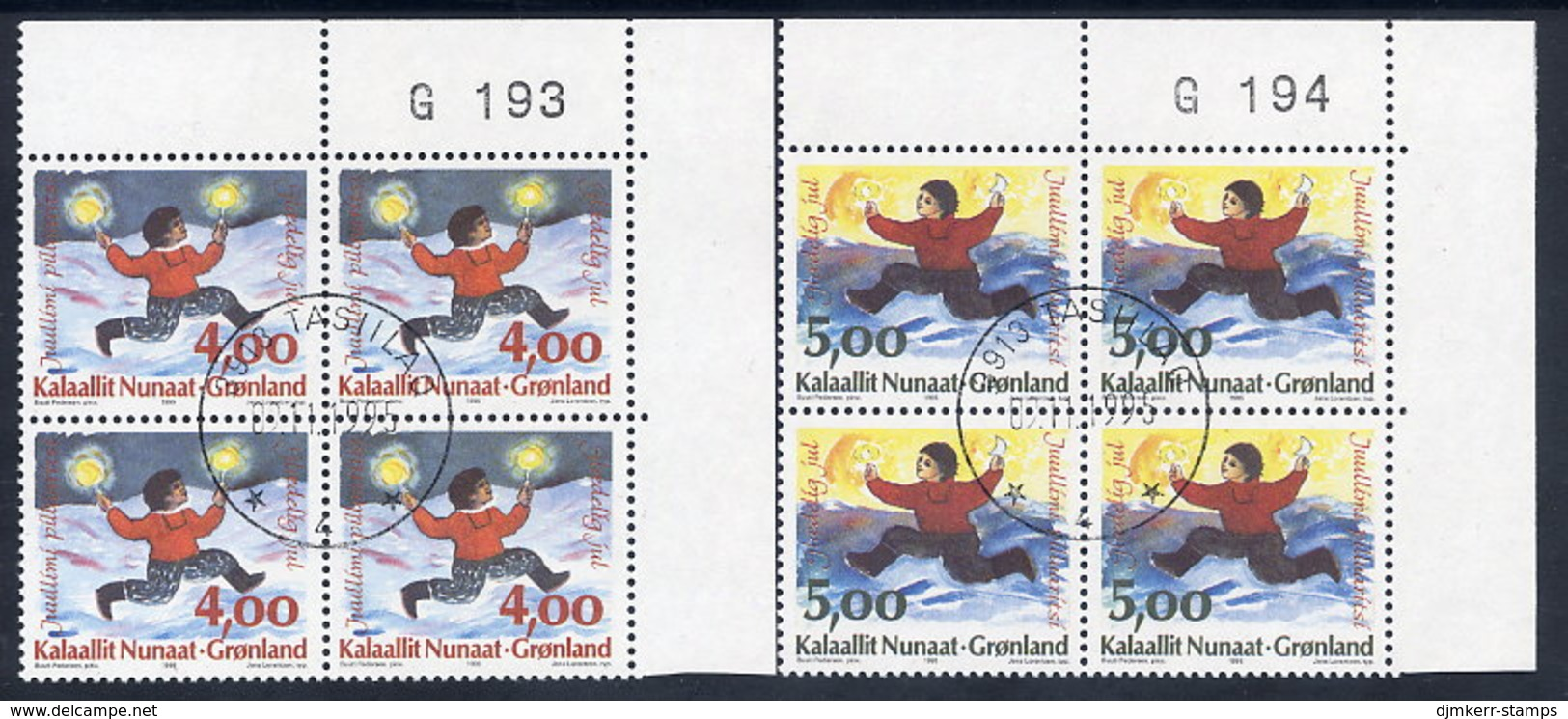 GREENLAND 1995 Christmas. In Used Corner Blocks Of 4.  Michel 279-80 - Used Stamps