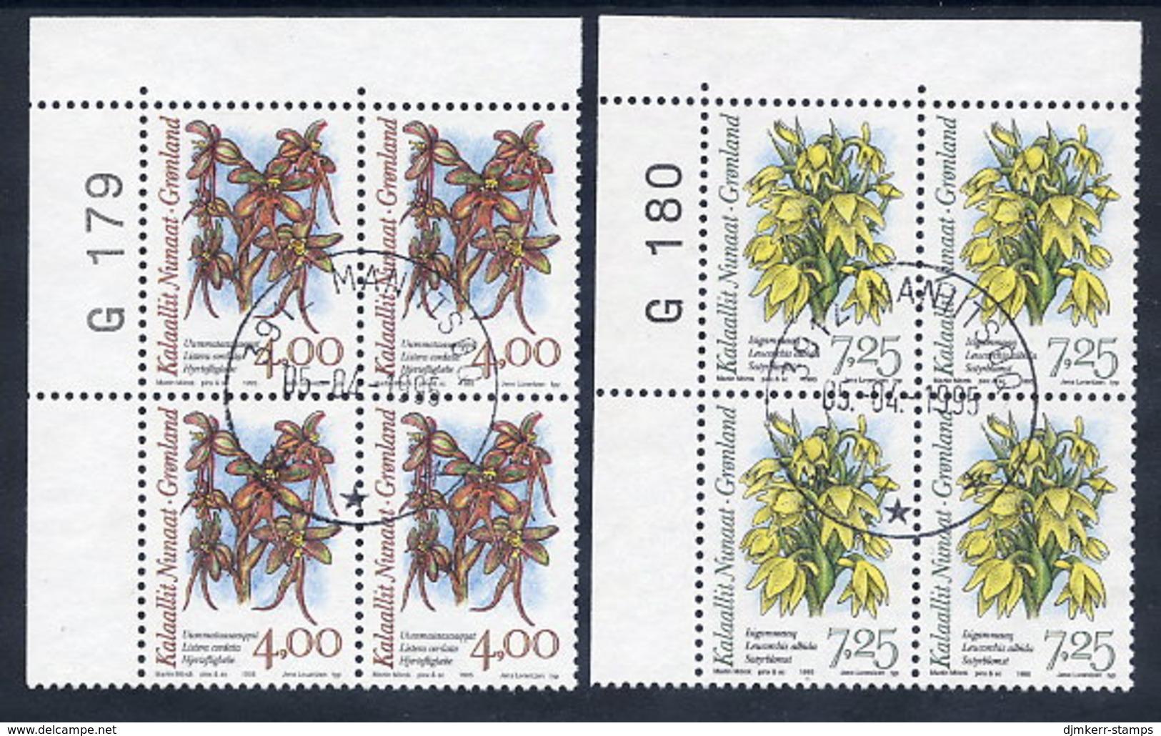 GREENLAND 1995 Arctic Orchids Iin Used Corner Blocks Of 4.  Michel 256-57 - Greenland