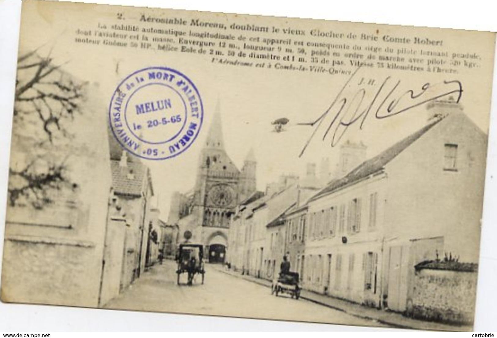 77 Aérostable Moreau, Doublant Le Vieux Clocher BRIE-COMTE-ROBERT - Cachet Anniversaire Mort Albert MOREAU - Aéro-Stable - Brie Comte Robert