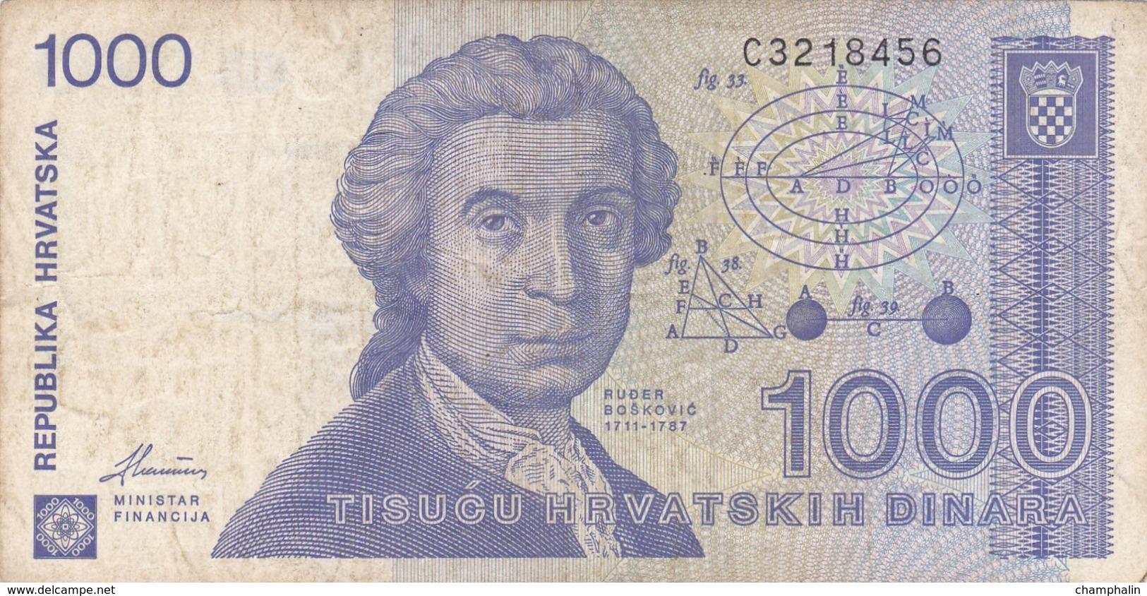 Croatie - Billet De 1000 Dinara - 1991 - Ruder Boskovic - Croatie