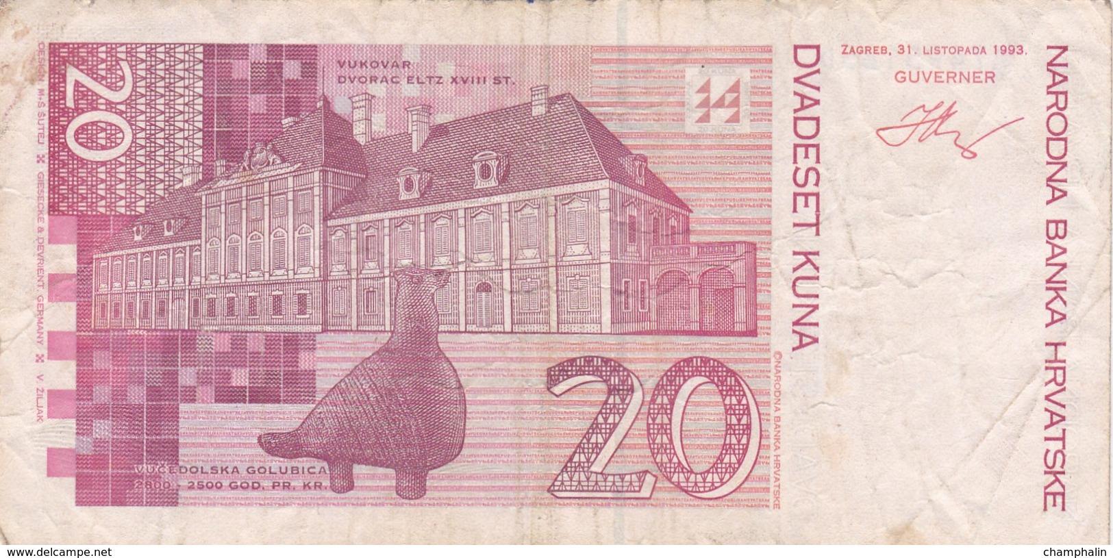 Croatie - Billet De 20 Kuna - Josip Jelacic - 31 Octobre 1993 - Croatie