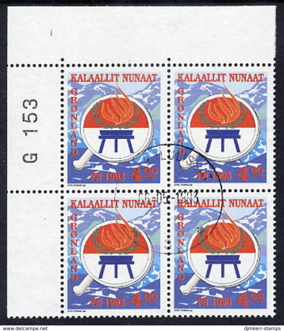 GREENLAND 1993 Year Of Indigenous Peoples In Used Corner Block Of 4.  Michel 230 - Greenland