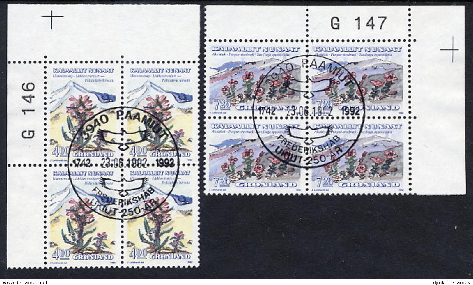 GREENLAND 1992 Flowers III In Used Corner Blocks Of 4.  Michel 223-24 - Used Stamps