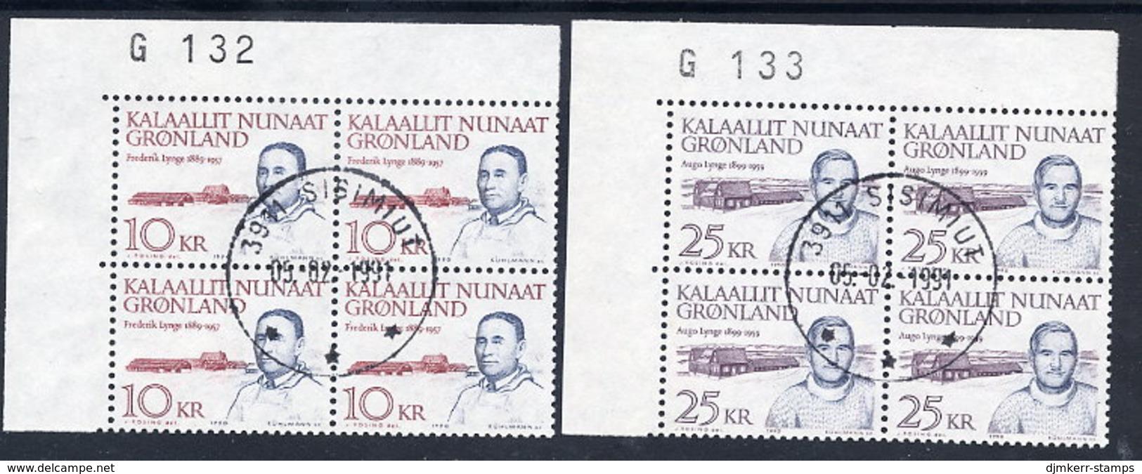 GREENLAND 1990 Definitive: Personalities In Used Corner Blocks Of 4.  Michel 209-10 - Greenland