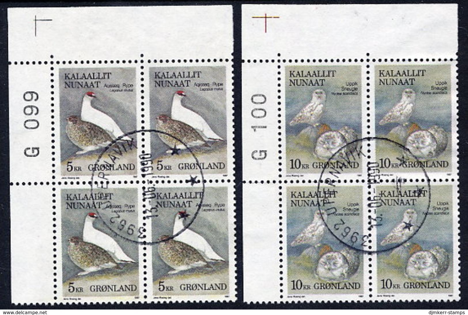 GREENLAND 1987 Birds I In Used Corner Blocks Of 4.  Michel 176-77 - Greenland