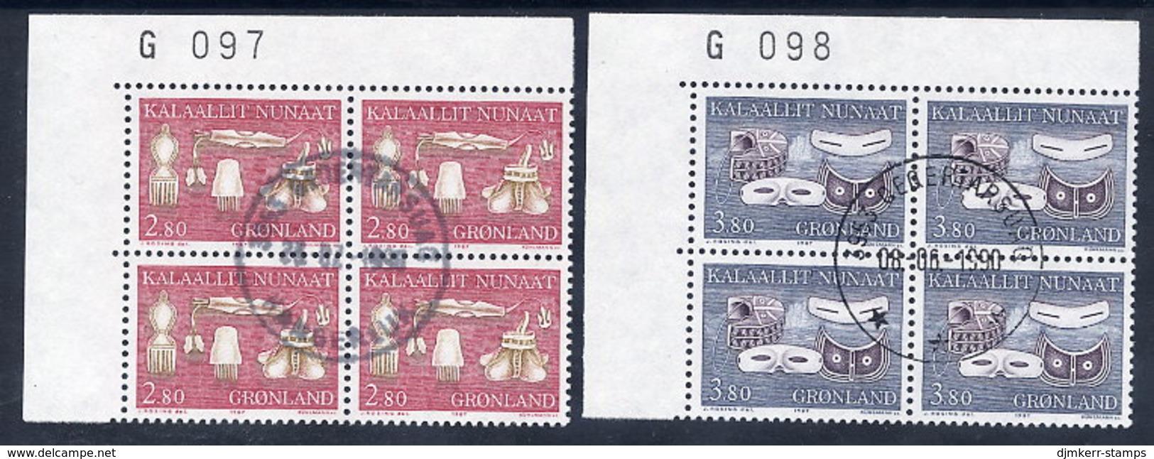 GREENLAND 1987 Cultural Artefacts II In Used Corner Blocks Of 4.  Michel 174-75 - Greenland