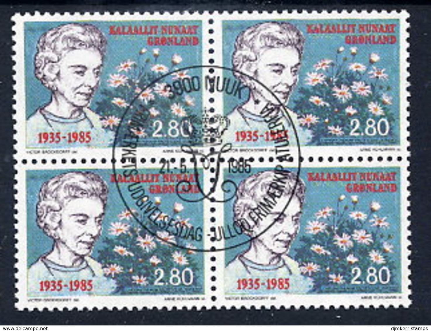 GREENLAND 1985 Arrival Of Queen Ingrid In Used  Block Of 4.  Michel 159 - Greenland