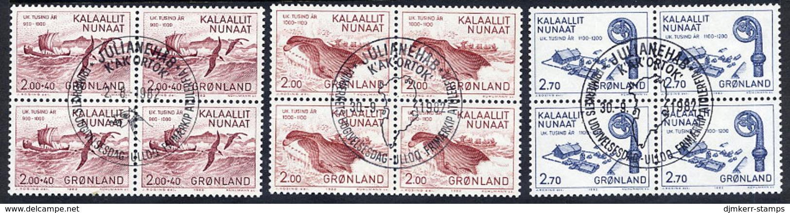 GREENLAND 1982 Millenary Of Settlement II-III In Used  Blocks Of 4.  Michel 137-39 - Greenland