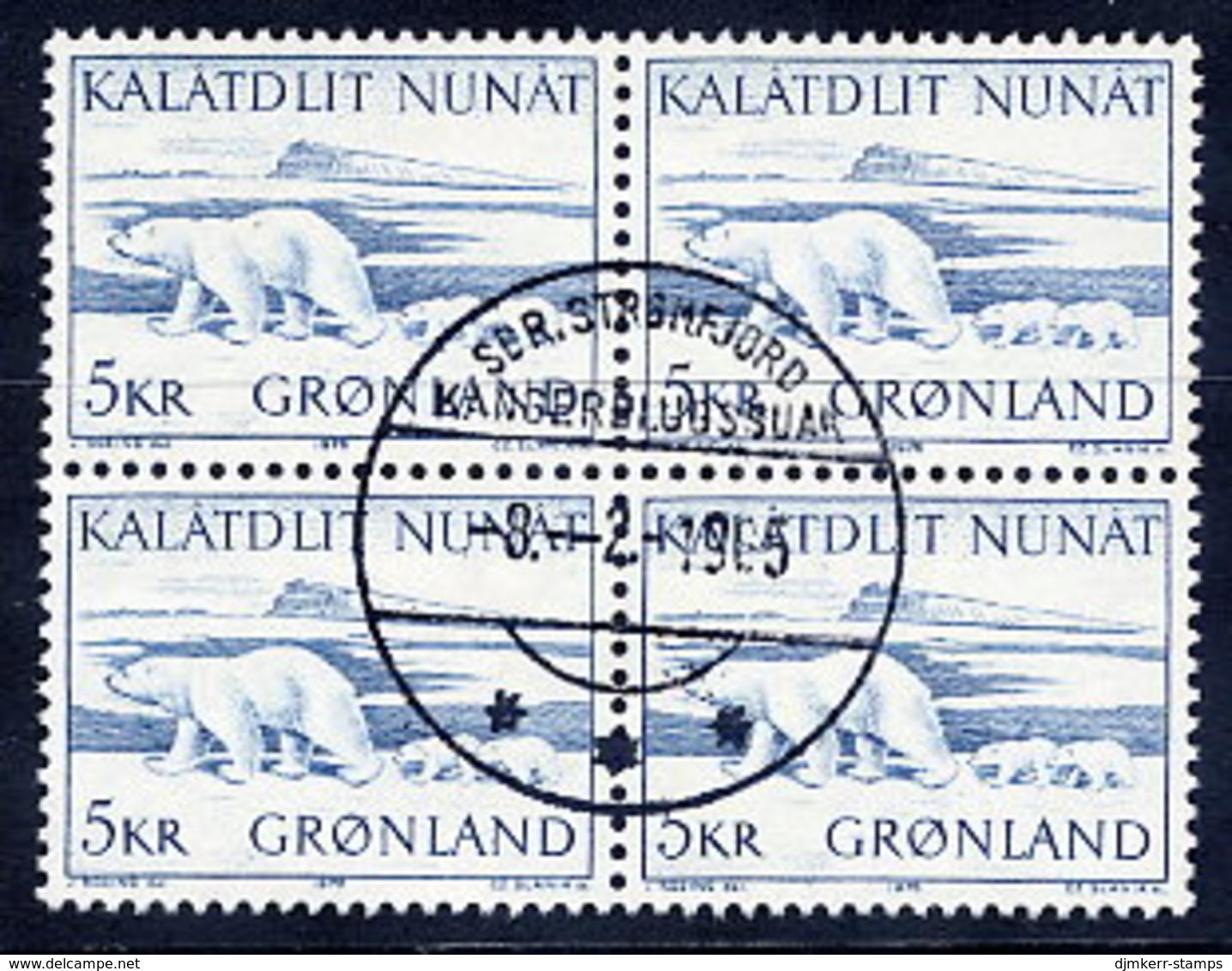 GREENLAND 1976 Polar Bear In Used Block Of 4,  Michel 96 - Greenland