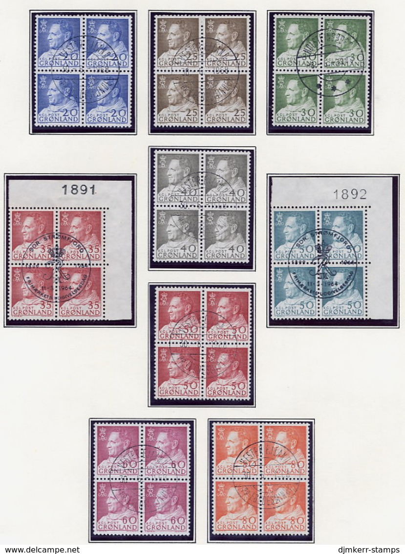 GREENLAND 1963-68 King Freferik IX Definitives, Set Of 9 In Used  Blocks Of 4. - Greenland