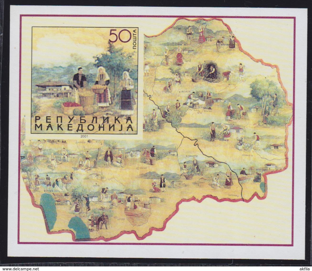 Macedonia 2001 National Costumes, Block, MNH (**) Michel 224 Block 8 - Mazedonien