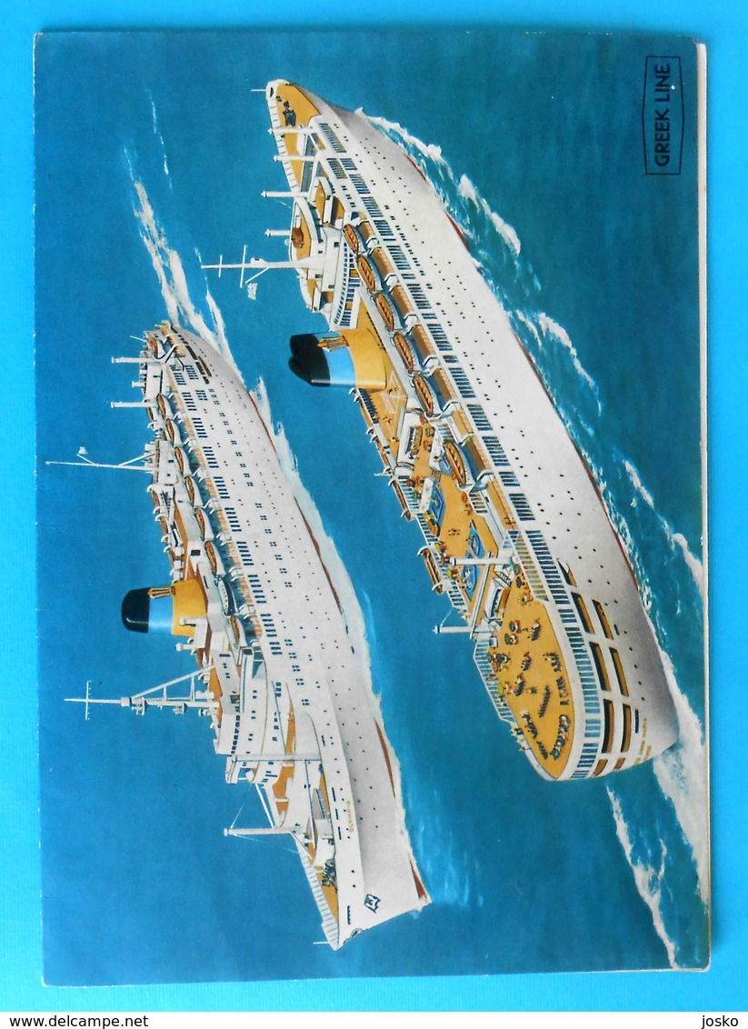 GREEK LINE - Original Vintage Lunch Menu (1966.) - T.s.s. QUEEN ANNA MARIA Ex RMS Empress Of Britain * Greece Grece - Boats