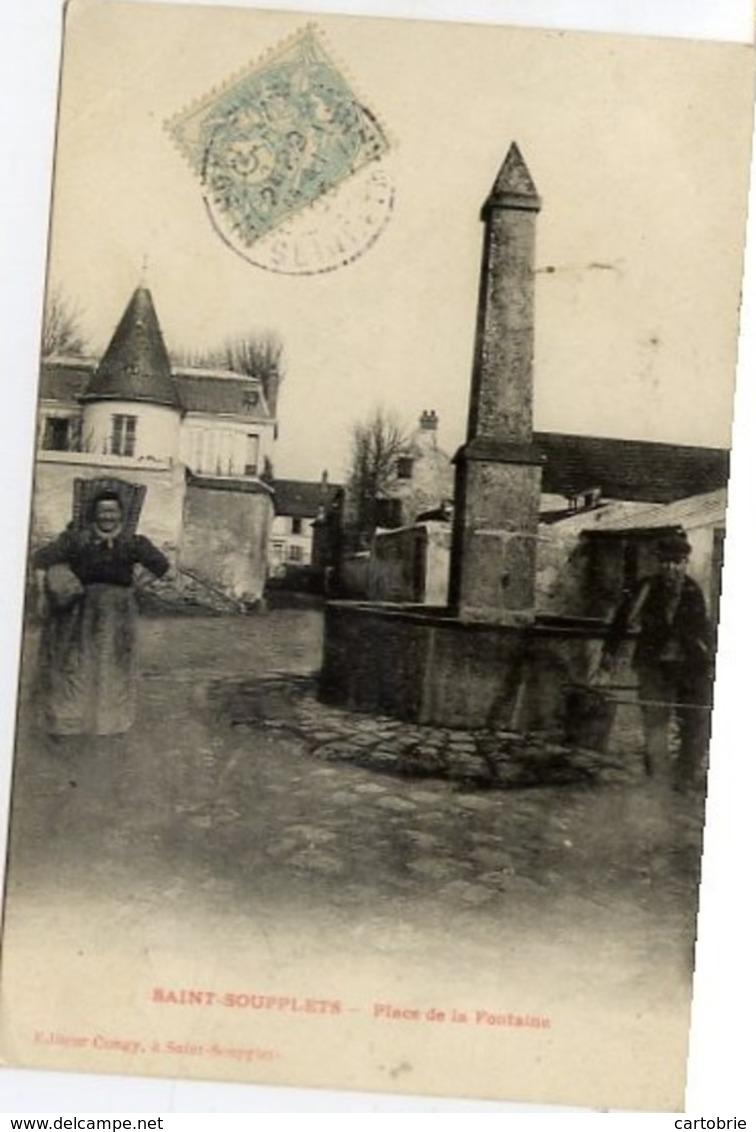77 SAINT-SOUPPLETS - Place De La Fontaine - Animée : Paysanne Avec Sa Hotte - France