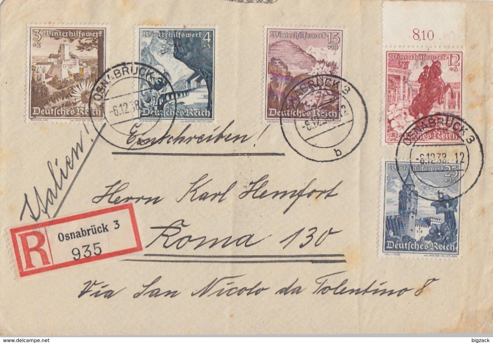 DR R-Brief Mif Minr.675,676,680,681,682 Osnabrück 6.12.38 Gel. Nach Italien - Deutschland