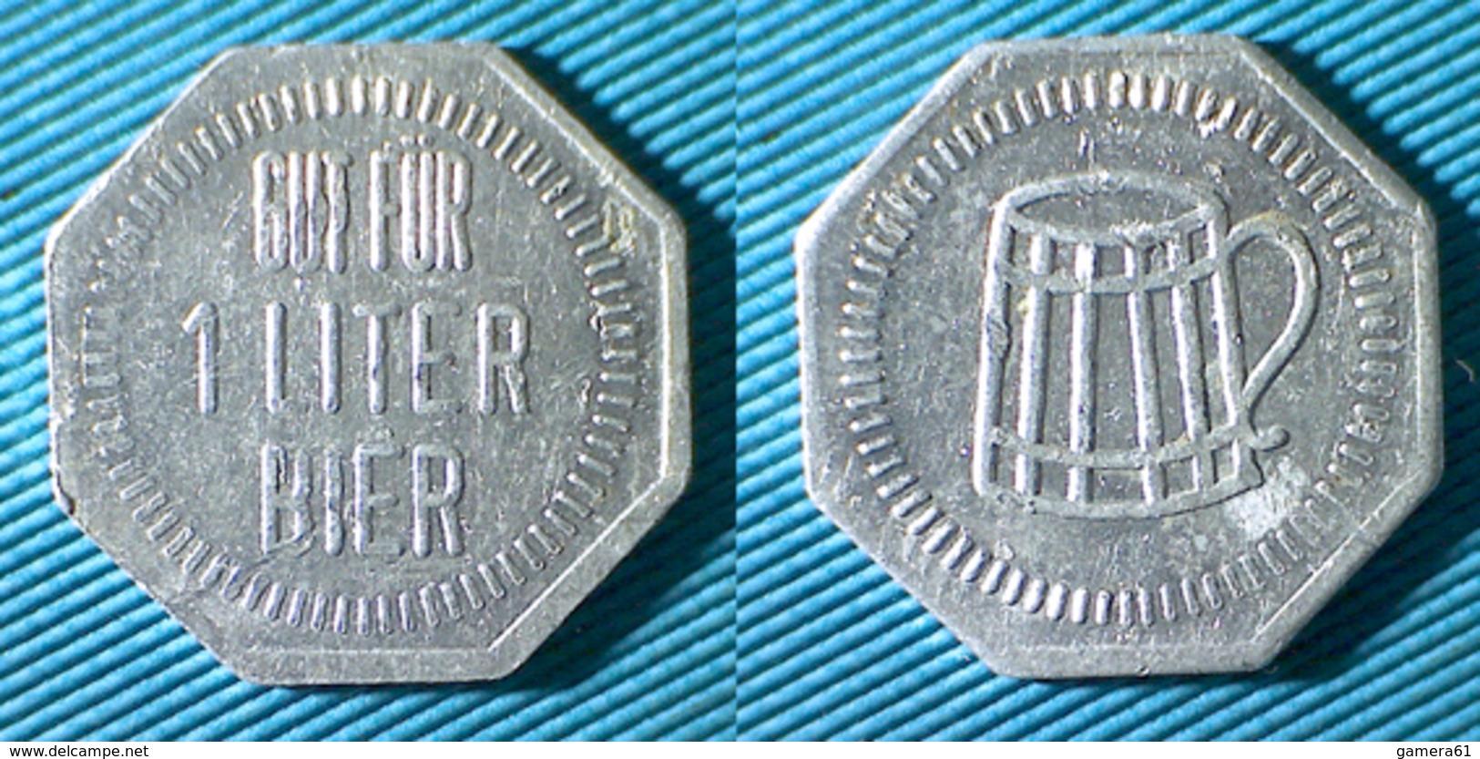 02496 GETTONE TOKEN JETON KANTINE BIRRA BIER GUT FUR 1 LITER BIER ALU - Allemagne