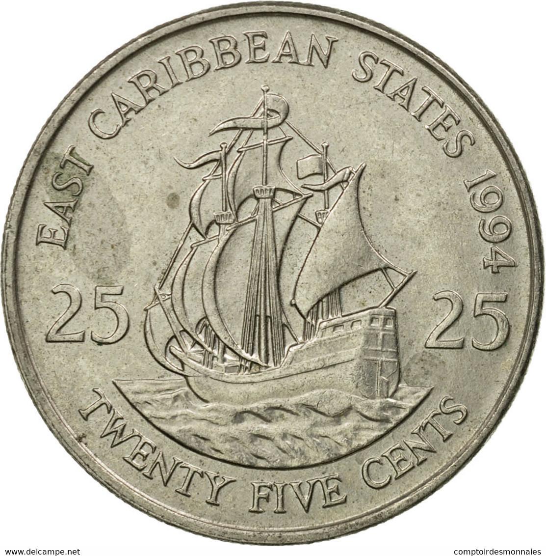 Monnaie, Etats Des Caraibes Orientales, Elizabeth II, 25 Cents, 1994, TTB - Caraïbes Orientales (Etats Des)