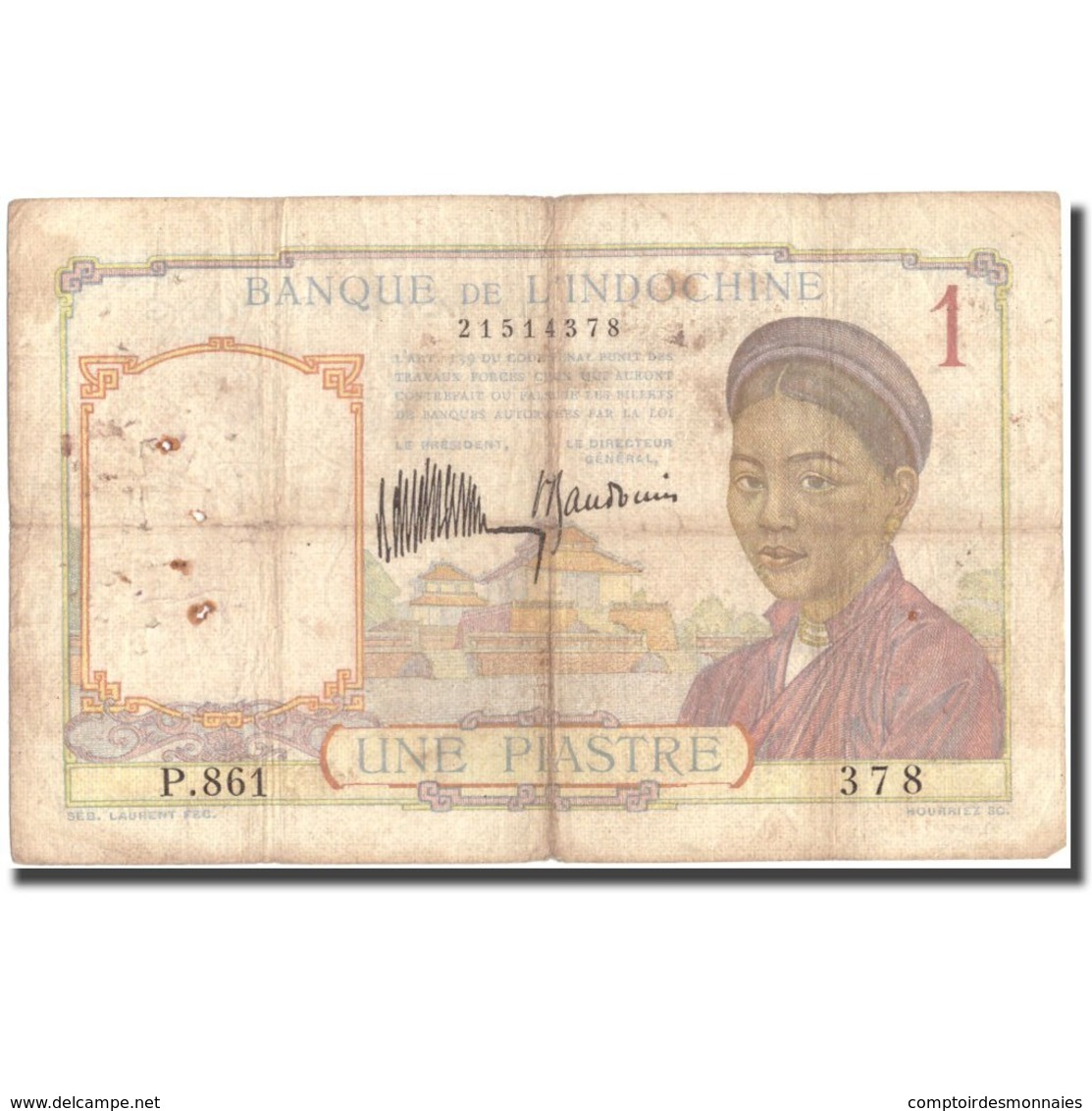 Billet, FRENCH INDO-CHINA, 1 Piastre, Undated (1932-1939), KM:54a, B+ - Indochine
