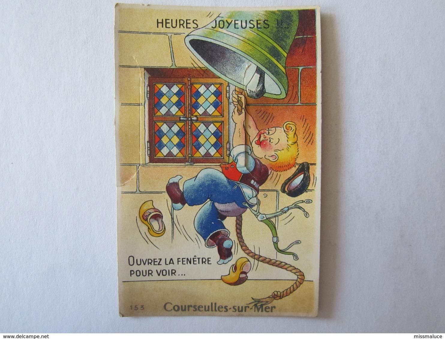 14 Calvados Courseulles Sur Mer Illustrateur Carte à Système (complet, Avec Dépliant) Heures Joyeuses Cloche - Courseulles-sur-Mer