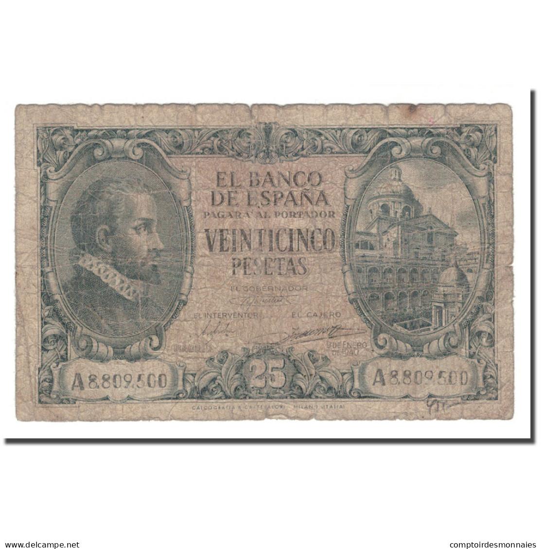 Billet, Espagne, 25 Pesetas, 1943, 1940-01-09, KM:116a, B - [ 3] 1936-1975 : Regime Di Franco
