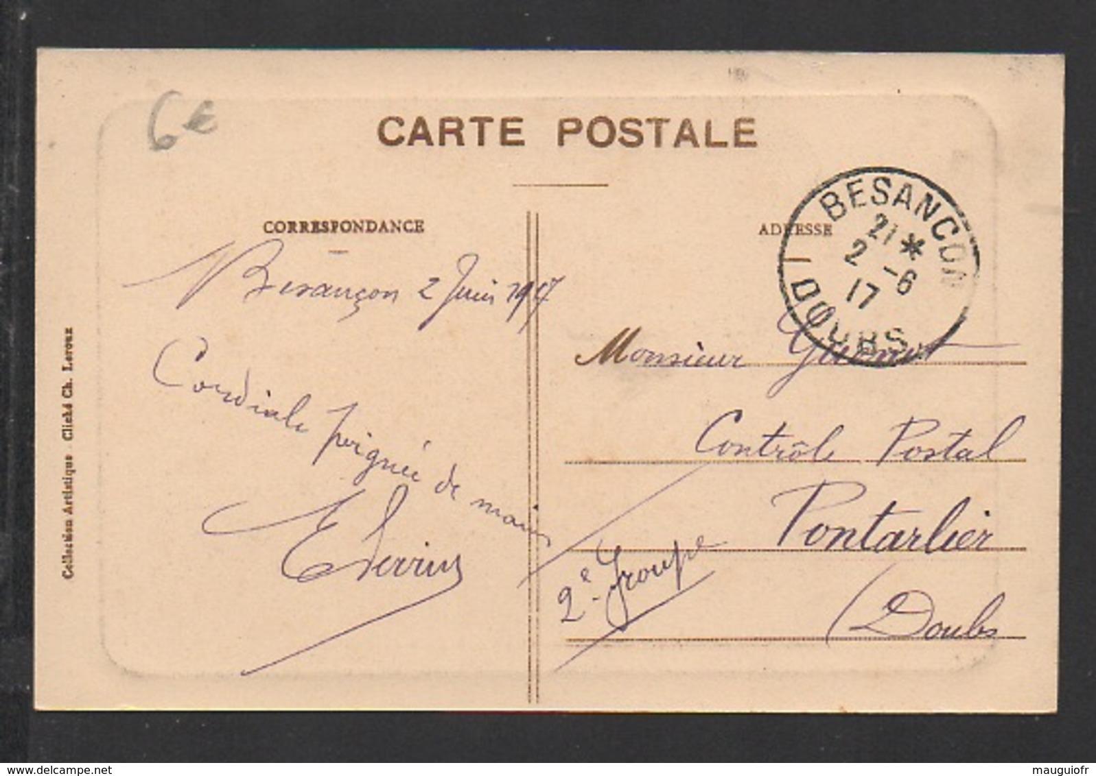 DD / 25 DOUBS / BESANÇON / LE DOUBS À L' ENTRÉE DE LA GARE D' EAU DE CHAMARS / ANIMÉE / CIRCULÉE EN 1917 - Besancon
